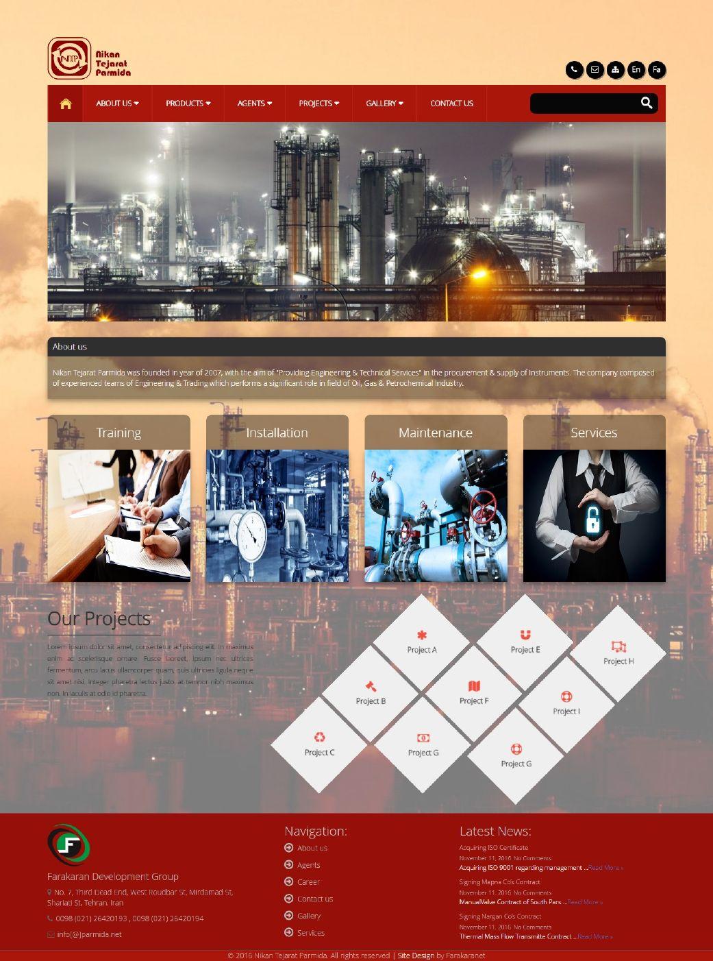 طراحی سایت نیکان تجارت پارمیدا